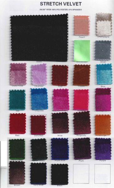 Stretch Velvet Fabric 60#x27;#x27; Wide by the Yard for Sewing Apparel Costumes Craft