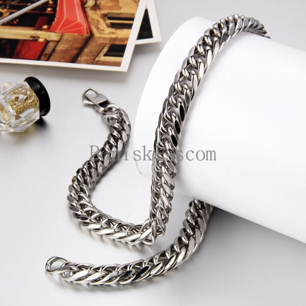 12mm Wide Heavy Large Men#x27;s Stainless Steel Necklace Chunky Link Chain 24 Inch $14.99