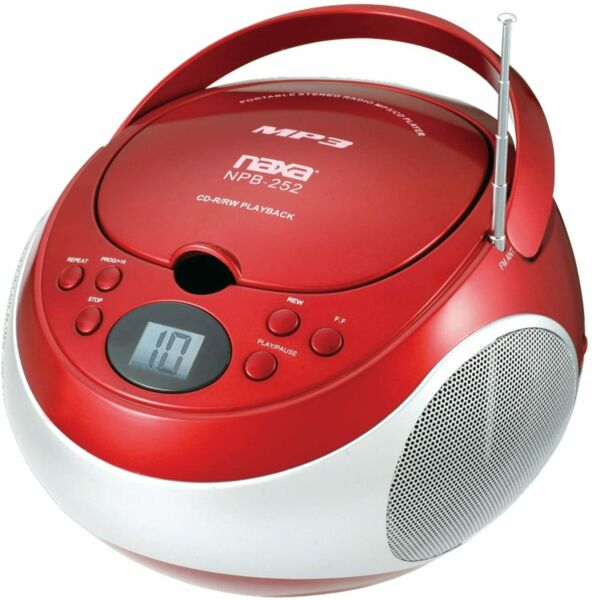 Naxa Portable MP3 CD Player with AM/FM Stereo Radio & AUX in Red | NPB252R