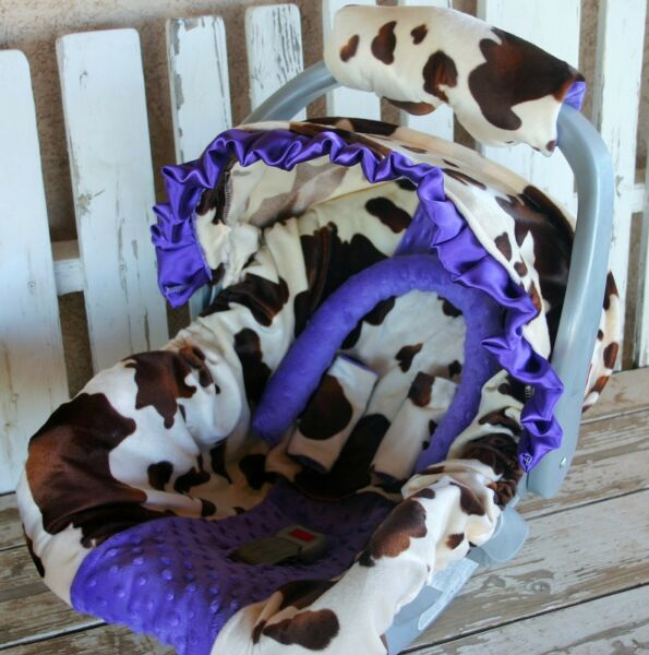 baby infant car seat cover and hood cover brown and tan cow with purple minky