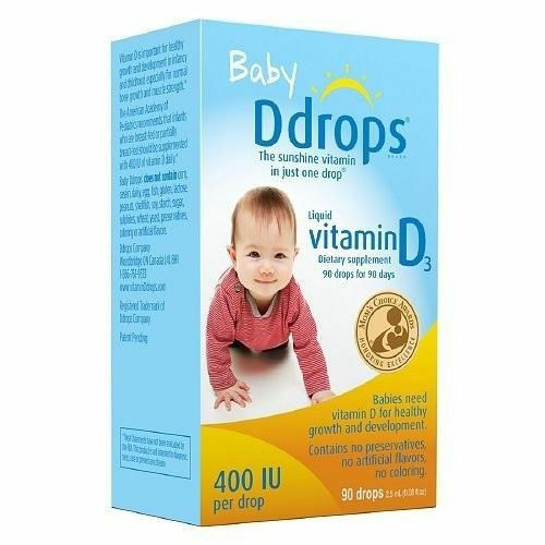 Baby Ddrops Liquid Vitamin D3 400 IU Dietary Supplement 90 Drops for 90 Days 4pk