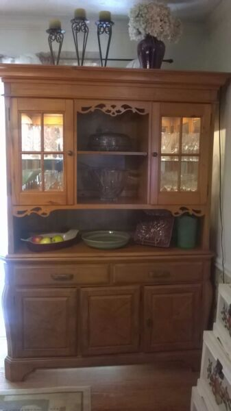 china cabinet oak wood two lights inside glass front doors