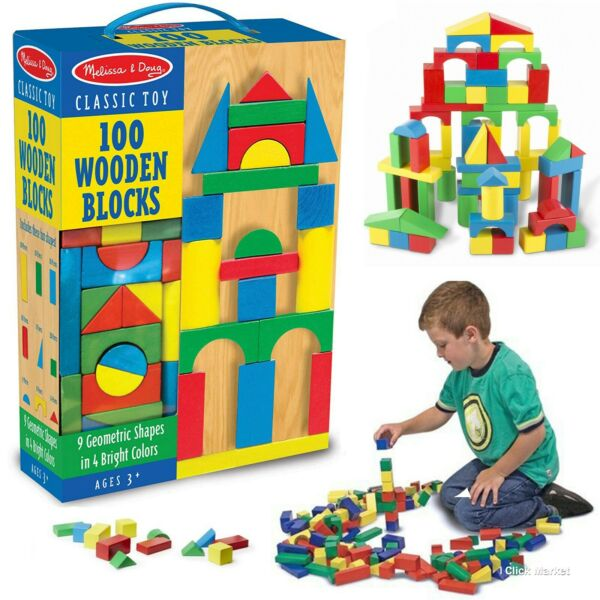 100 Piece Wooden Building Blocks Toy Set Classic Toys Melissa & Doug Kids Games