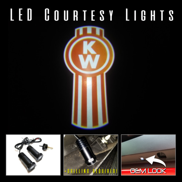 2Pc LED Logo Projectors Ghost Shadow Lights for KENWORTH Semi Trucks Camion