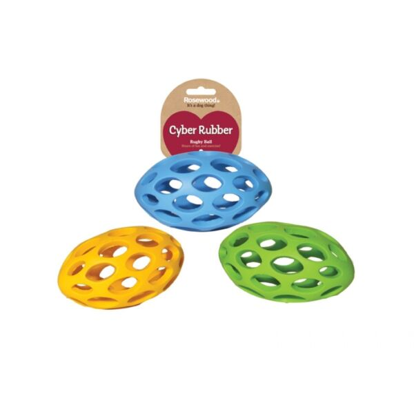 Cyber Lattice Rugby Ball Interactive Fetch Tough Durable Dog Toy Rubber Rugby   $5.86