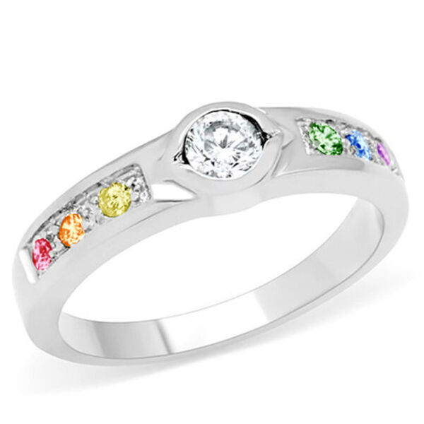 Pride Shack CZ Unique Back Set Rainbow Ring Lesbian Engagement Ring Gay Pride