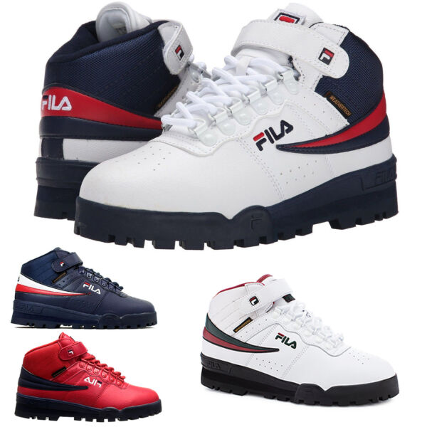 NEW Mens Fila F13 F-13 Mid High Top Weather Tech Sneaker Boots Shoes RED NAVY