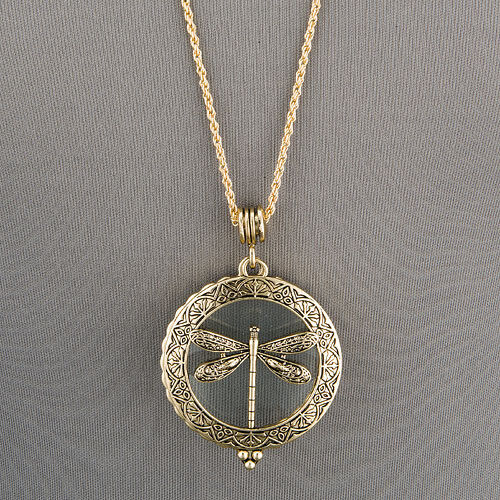 Antique Gold Chain 5X Magnifying Glass Dragonfly Design Pendant Necklace