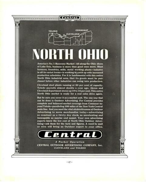 1935 North Ohio Central Outdoor Advertising Co Ad Antique Vtg Print 14x11quot; $18.75