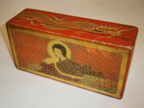 19c ANTIQUE GILD UNIQUE JAPANESECHINESE WOODEN BOX CASE PAINTED DRAGON