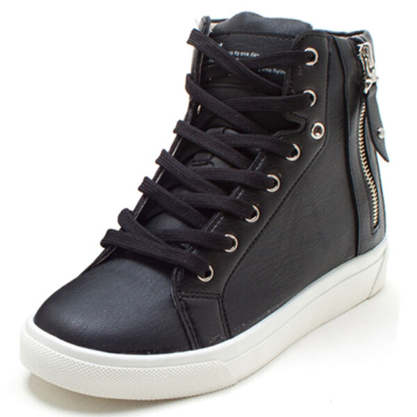 New Women's Casual High Tops Zip Lace Up Hidden Wedges Shoes Sneakers Trainers