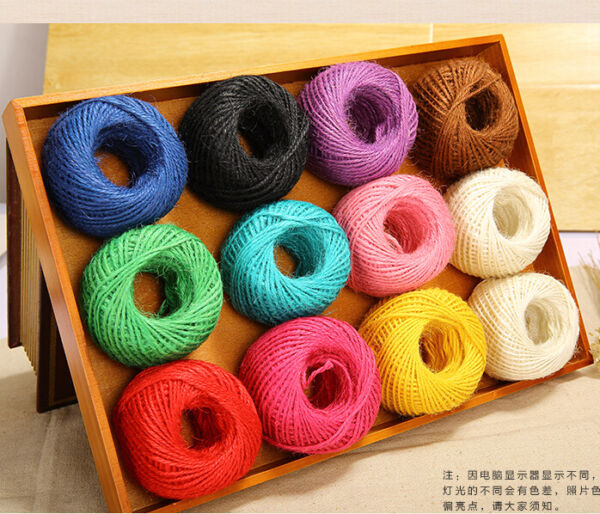 50 100M Twisted Burlap Natural Fiber Jute Twine Rope Cord String Craft DIY Gift