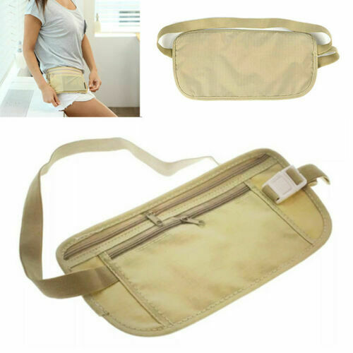 Waist Belt Bag Travel Pouch For Hidden ID Passport Security Money Compact Safety