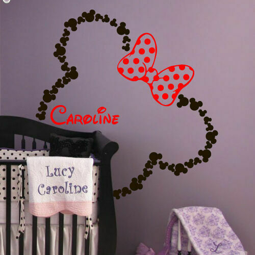 46x42#x27; Mickey Mouse Ears Minnie with Bow Baby Name Wall Decal Custom Bed M1604 $27.99
