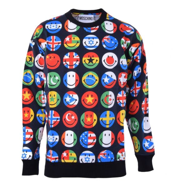 MOSCHINO COUTURE Smiley Sweatshirt Sweater with Flags Print Black Cotton 04464