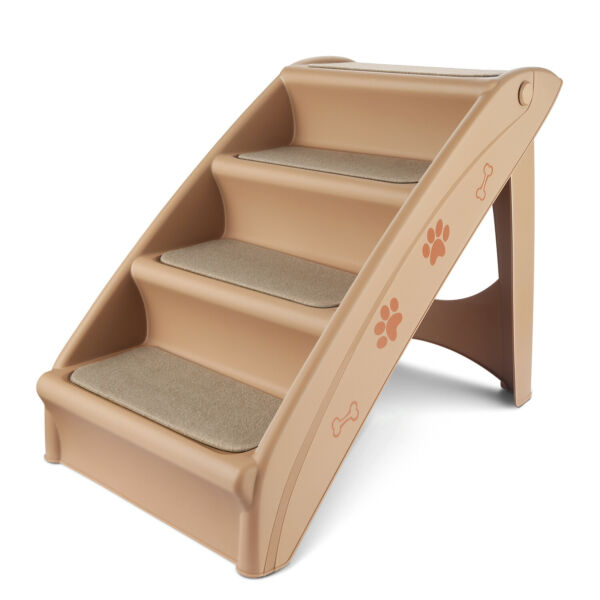 Pet Stairs Foldable Dog Stairs for High Beds Portable Steps Ladder Beige Tan $53.99