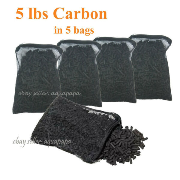 Activated Charcoal Carbon in 5 Mesh Bags Aquarium Pond Canister Filter 5 LBS $24.40