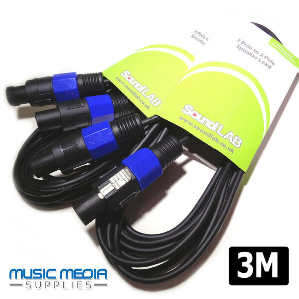 2x 3m Speaker to Amplifier Leads Cable PA Sound System Amp lead (2-Pole) SPK-ON