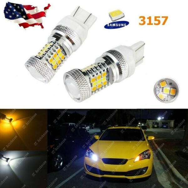 2x 3157 Switchback LED Front Turn Signal Light Bulbs for Dodge Jeep Chrysler