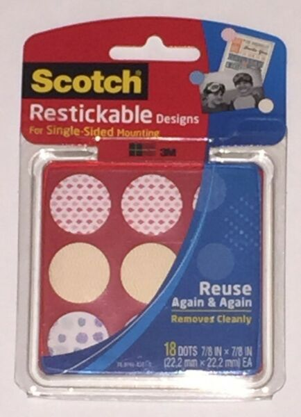 Scotch 3M Restickable Designs Single Sided Mounting Dots 18 7 8quot; x 7 8quot;