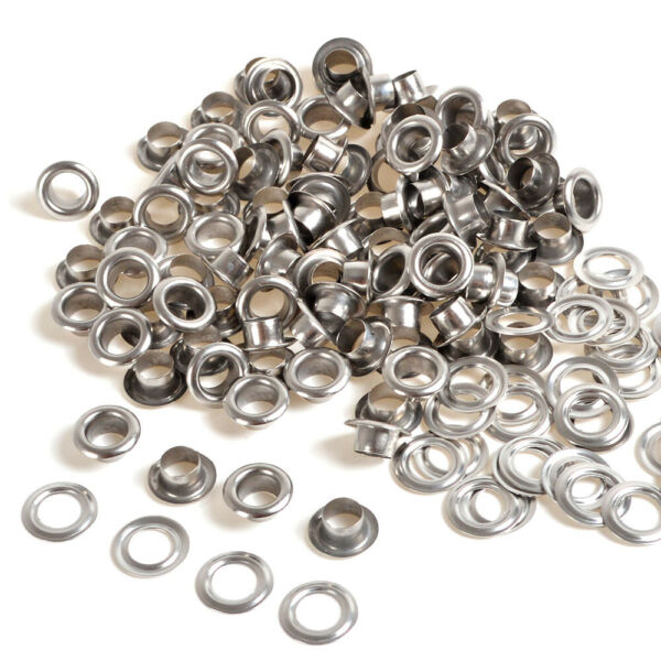 Silver 100 Sets Eyelet 456810mm wWasher Grommets Leather Craft Scrapbooking
