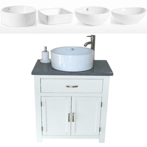 Bathroom Vanity Unit  White Painted  Grey Quartz with Ceramic Basin