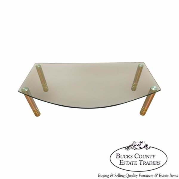 Contemporary Modern Design Glass Top Coffee Table w/ Brushed Brass Cylinder Legs
