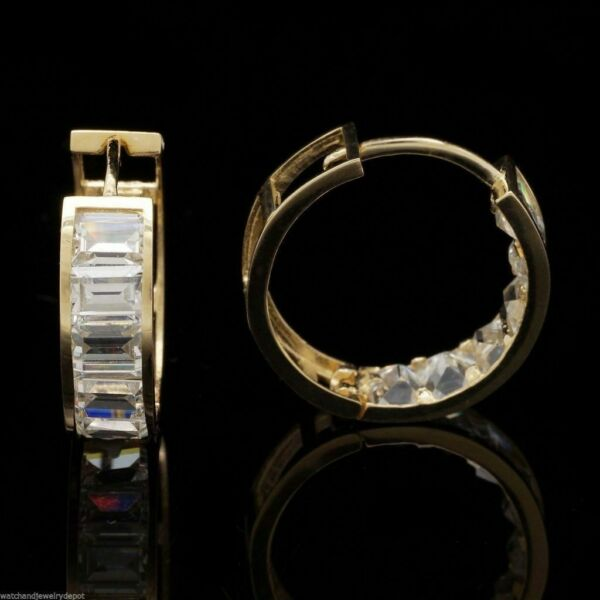 14K Yellow Gold 2Ct Emerald Cut Created Diamond Huggie Hoop Earrings 0.5