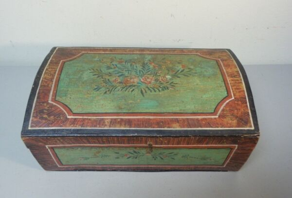 GREAT 19TH CENTURY HAND MADE WOODEN BRIDE'S BOX DOME TOP ORIGINAL PAINT