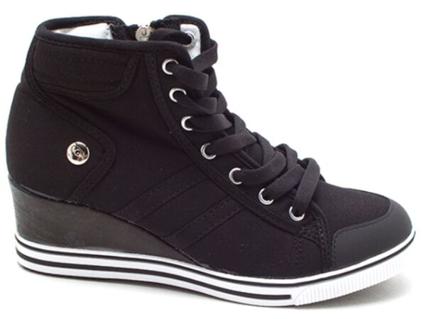 New Women's Casual Canvas High Top Wedges Mid Heels Zip Lace Up Sneakers Shoes