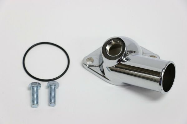 SBC BBC Chevy Chrome Water Neck Thermostat Housing 15° With Temp Port 350 454  $17.95