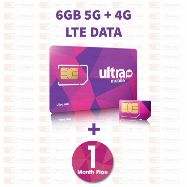 PreLoaded Ultra Mobile SIM Card with 6GB 4G LTE Data1st Month Services included $12.00