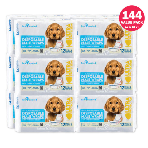 72 144ct Paw Inspired Dog Male Wraps Disposable Belly Bands Puppy Diapers $69.95