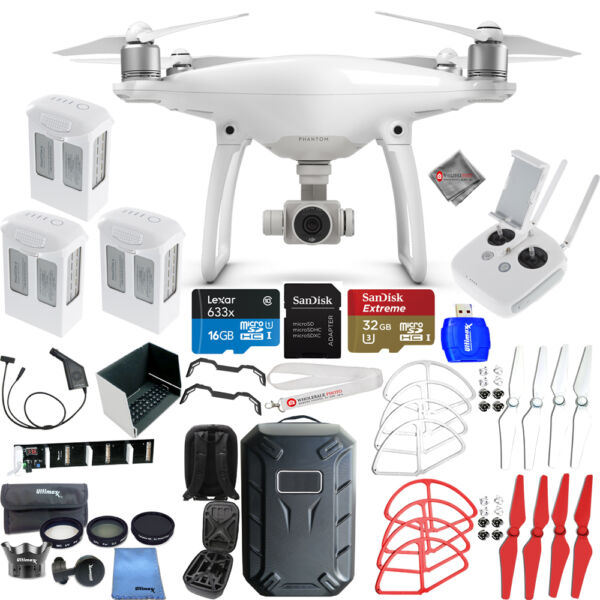 DJI Phantom 4 Drone W/ 4K Camera MEGA 3 BATTERY EVERYTHING YOU NEED BUNDLE! NEW!