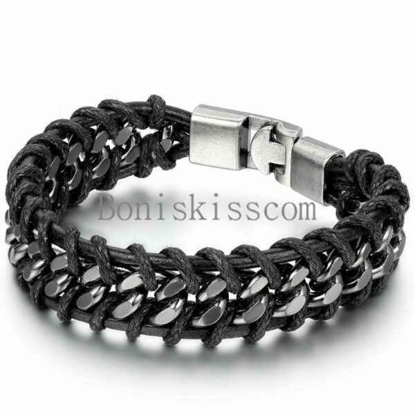 Black Braided Leather Silver Stainless Steel Cuban Chain Men#x27;s Bracelet Bangle
