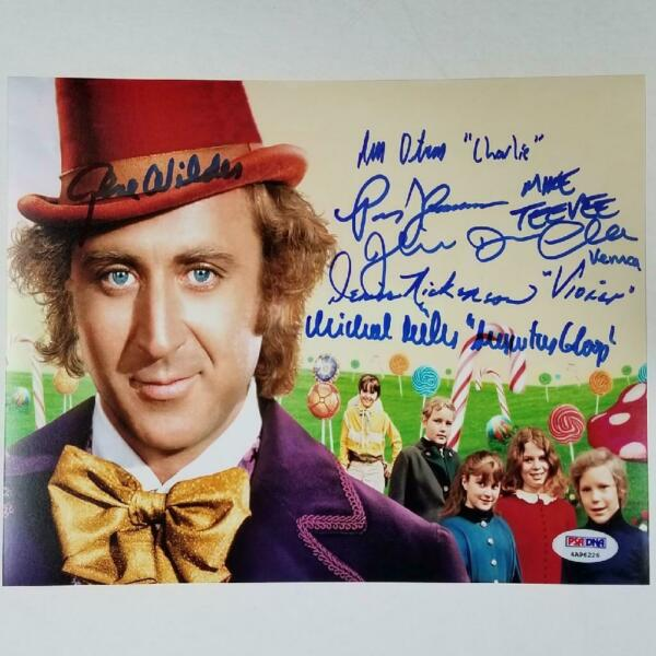 Gene Wilder Willy Wonka Kids Cast x6 signed 8x10 Photo PSA DNA COA LOA
