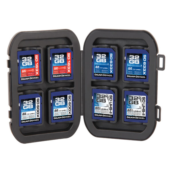 Delkin Devices 8 SD Memory Card Crushproof Tote Case Holder Secure Digital