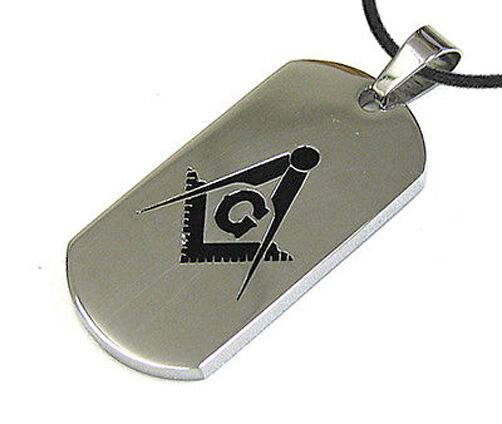 Silver Masonic Dog Tag Square amp; Compass Pendant amp; PVC Chain Necklace $20.99