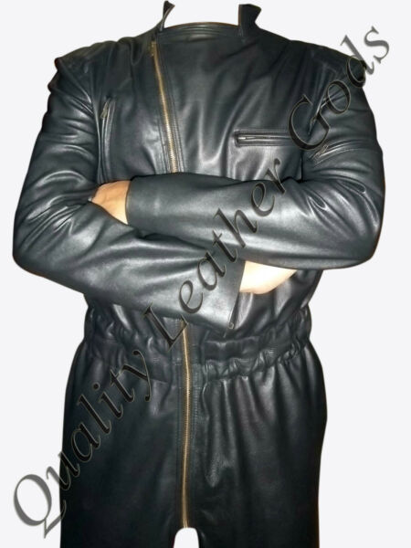 BESPOKE MENS GENUINE LEATHER NUMAN BOILER SUIT CATSUIT OVERALL BODYSUIT