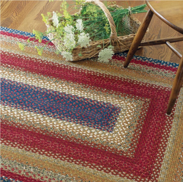 LOG CABIN BRAIDED AREA RUG By HOMESPICE DECOR. OVAL & RECTANGLE. MANY SIZES!