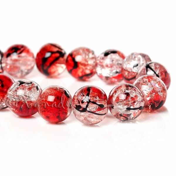 Red And Black Wholesale 10mm Crackle Glass Beads G8104 20 50 Or 100PCs $2.00