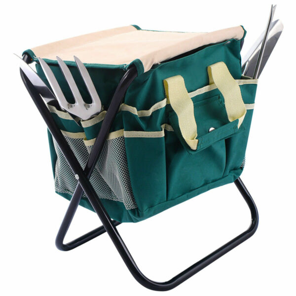 7 PCS Garden Tool Bag Set Folding Stool Tools Gardening Stainless Steel Gift New