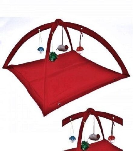 Fleece Cat Play Tent RED WDangle Toys Interactive Kitty Pet Gift 22
