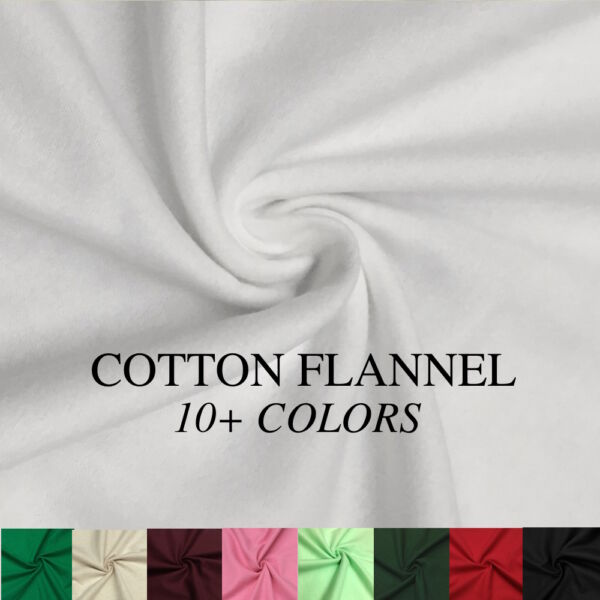 Cotton Flannel Fabric 45quot; Wide Soft Warm Comfy 10 Colors By The Yard
