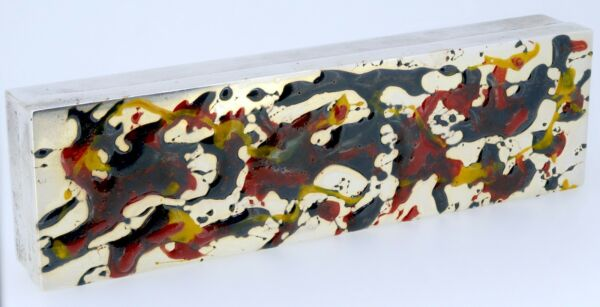 Cartier 1950s JACKSON POLLOCK Abstract Expressionist Drip Paint Silver Box RARE