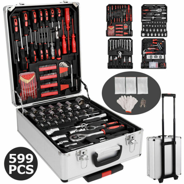 599 PCS Hand Tool Set Mechanics Kit Wrenches Socket Toolbox Trolley Case Castors