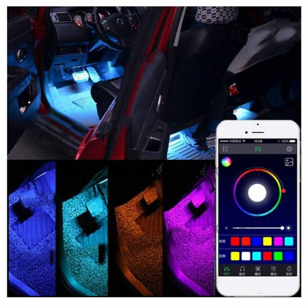 4 x9 LED Car Decorative RGB Lights Interior Foot Mood Light Phone App Control WI