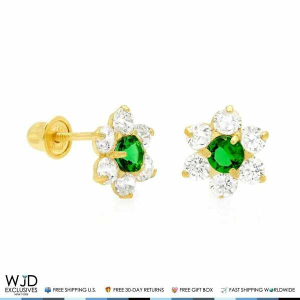 14k Yellow Gold 0.70Ct Diamond And Emerald Flower Shape Stud Earrings 8mm