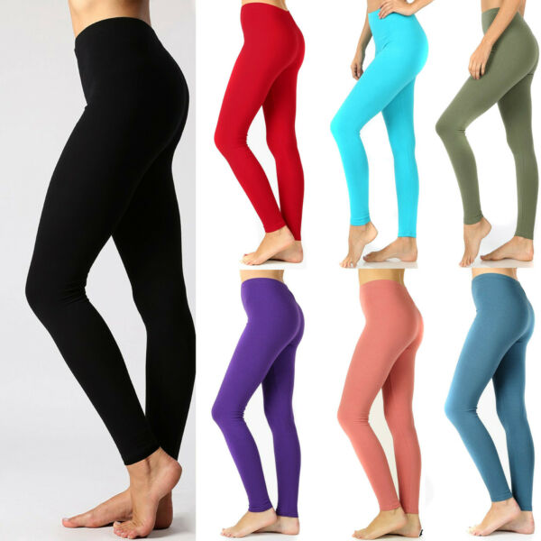 Womens Soft Stretch Cotton High Waisted Leggings Long Workout Yoga Pant Fitness $10.95