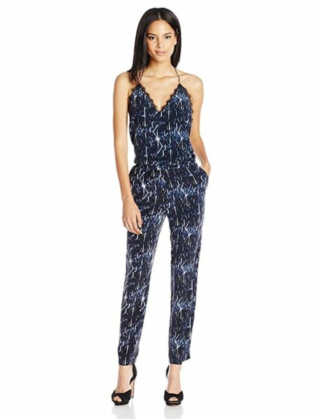 DOLCE VITA Silk Washed Marine Jumpsuit Shattered Ice Storm Navy Blue Sz M NWT